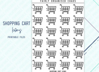 SHOPPING CART ICONS – Line Icon Foil Ready Printable Planner Stickers