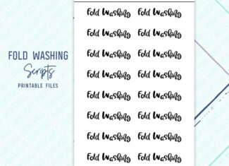 FOLD WASHING SCRIPTS – Script Foil Ready Printable Planner Stickers