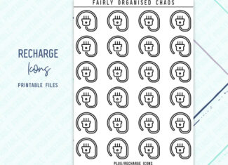 RECHARGE MACHINE ICONS – Line Icon Foil Ready Printable Planner Stickers