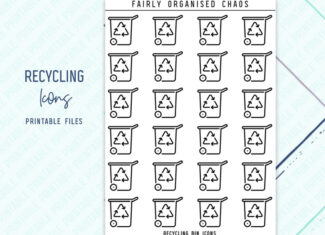 RECYCLING ICONS – Line Icon Foil Ready Printable Planner Stickers